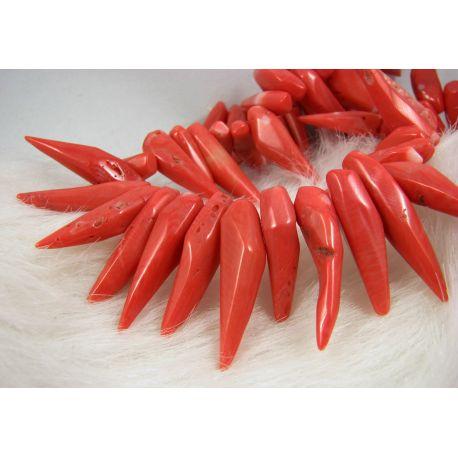 Natūralaus koralo karoliukai, šviesiai rožinės spalvos, ilties formos, 22-42x5-8 mm