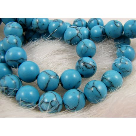 Synthetic turquoise beads, blue, round shape 8 mm