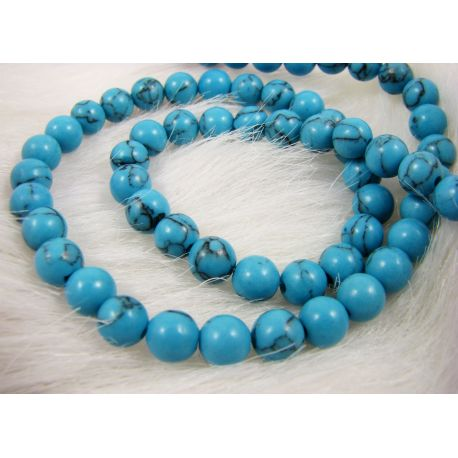 Synthetic turquoise bead thread, blue, round shape 6 mm