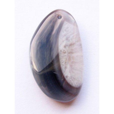Bostvana agate pendant bluish - grey crescent shape 34x19x7mm