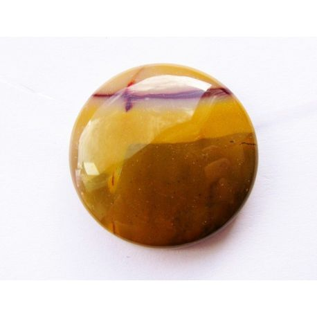 Jaspi pendant yellow - brown round shape 25x25x7mm