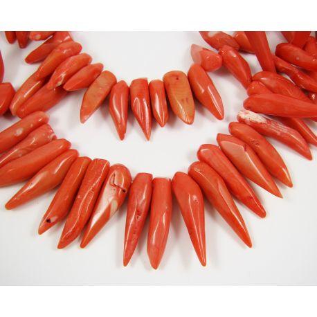 Natural coral beads, light orange, iling shape, 20-40x3-10 mm
