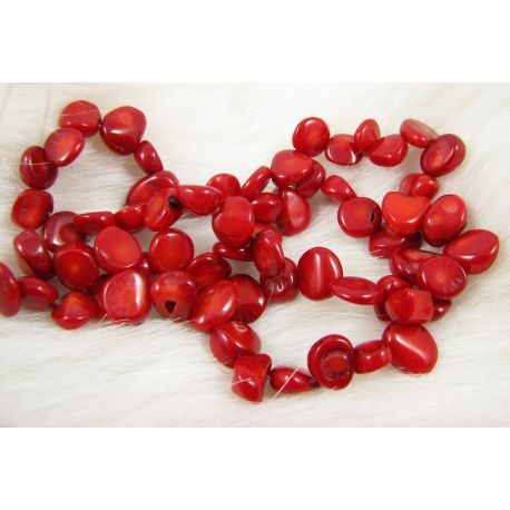 Natural coral bead thread, red, coin shape, 8-12x6-10 mm