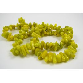 Natural coral chipping thread, greenish-yellow, length approx. 43 cm