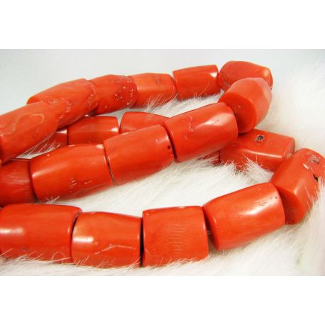 Natural coral beads, reddish-orange, tube-shaped, 26x19 mm