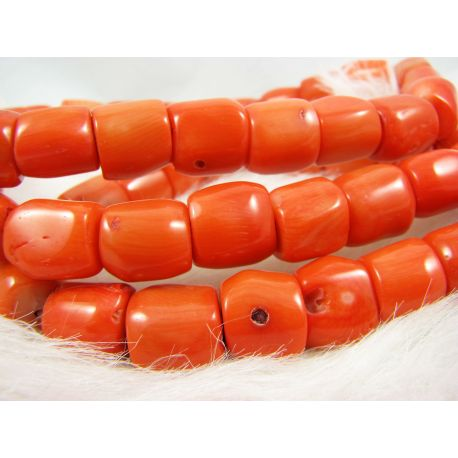 Natural coral bead thread, orange, tube shape, 13x12 mm