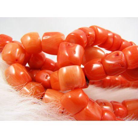 Natural coral bead thread, orange, tube shaped, 11x12 mm