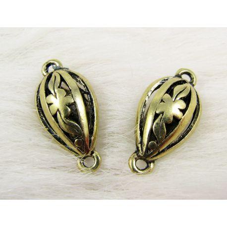 Jewellery distributor, aged gold, drop shape, 25x12 mm
