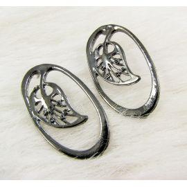 "Earrings ""Sheet"", 34x19 mm, 3 pairs"