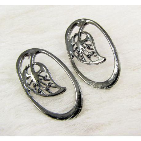 """Earrings """"Leaf"""", black, 34x19 mm size 1 pair"""