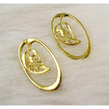 """Kabliukai auskarams """"Lapas"""", aukso spalvos, 34x19 mm dydžio 1 pora"""