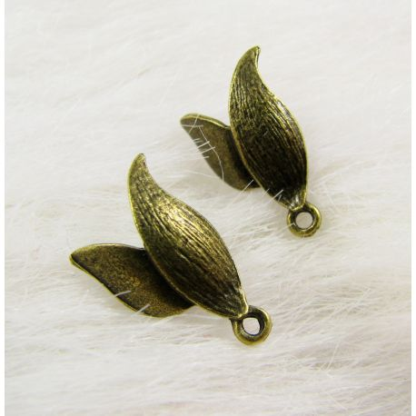 Hooks for earrings, aged bronze with a loop, size about 14x11 mm 1 pair