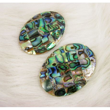 Abalone sinks cabochon, green - mottled, size 40x30 mm