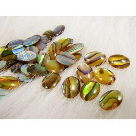 Abalone sinks cabochon, yellowish-green, size 8x6 mm