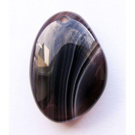 Bostvanos agato pakabukas juodos - pilkos spalvos 23x16x7mm
