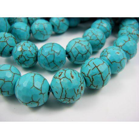 Synthetic turquoise beads, azure, round shape 14 mm
