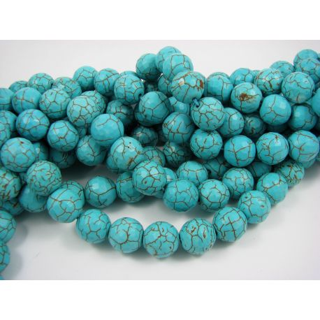 Synthetic turquoise bead thread, green, round shape 14 mm
