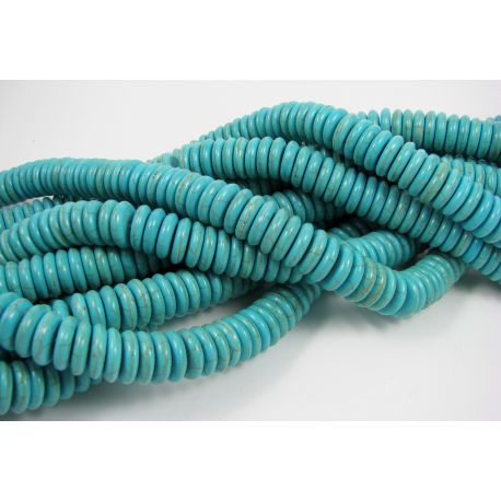 Synthetic turquoise bead thread, green, rondelle shape 12 mm