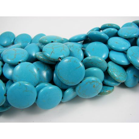 Synthetic turquoise bead thread, green, coin shape 19x7 mm