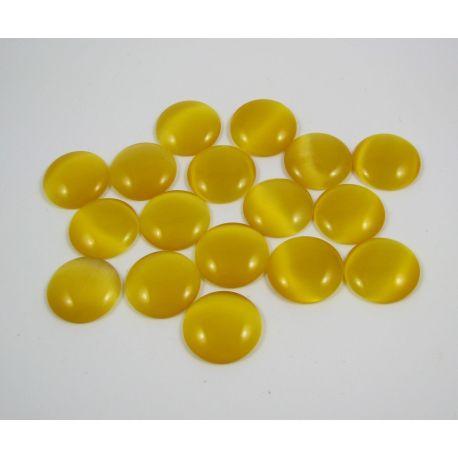 Cat's eye cabochon, yellow, round shape, 20 mm