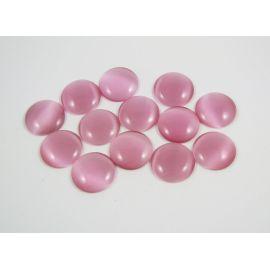 Cat's eye cabochon, pink, round shape, 20 mm