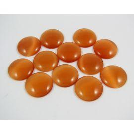 Cat's eye cabochon, orange, round shape, 20 mm