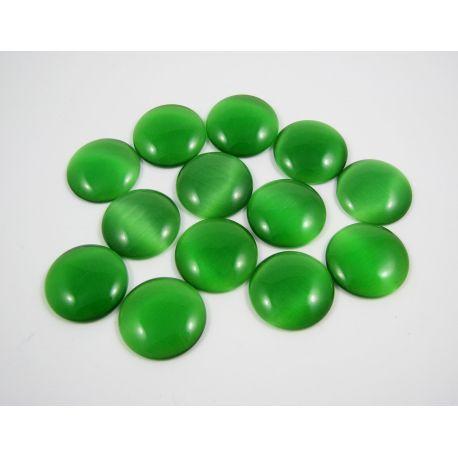 Cat's eye cabochon, green, round shape, 20 mm