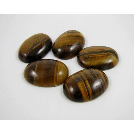 Tiger eye cabochon, brown, oval, 30x22 mm