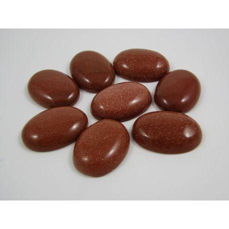 Sun stone cabochon, shiny brown, oval, 30x22 mm