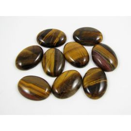 Tiger eye cabochon, brown, oval, 25x18 mm