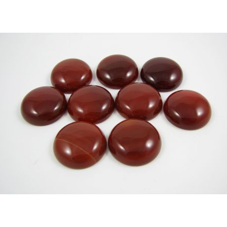 Agate cabochon, brown-red, round shape, 22 mm
