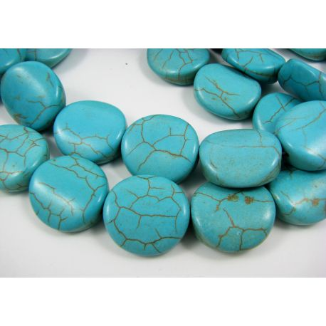 Synthetic turquoise beads, azure, coin shape 19x18 mm