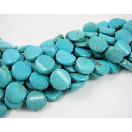 Synthetic turquoise bead thread, green, coin shape 19x18x7 mm