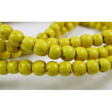 Synthetic turquoise beads, yellow, rondical shape, 3-4 mm, 10 pcs.
