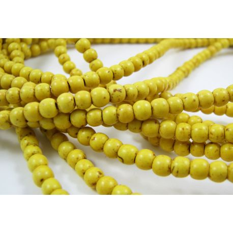 Synthetic turquoise bead thread, yellow, round shape, 3-4 mm
