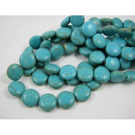 Synthetic turquoise beads, green-blue, coin shape 12 mm