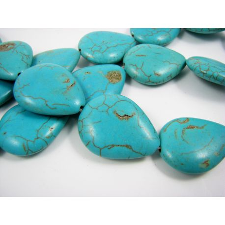 Synthetic turquoise beads, green-blue, drop shape 25x20 mm