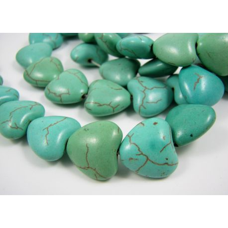 Synthetic turquoise heart, green-blue, size 14x14 mm