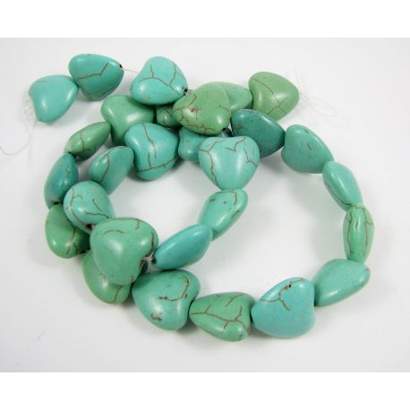 Synthetic turquoise heart thread, green-blue, size 14x14 mm