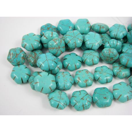 Synthetic turquoise flower, green-blue, size 19x9 mm