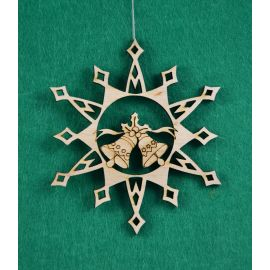 """Christmas wooden toy - """"Snowflake with bells"""". Made of 3 mm fan."""