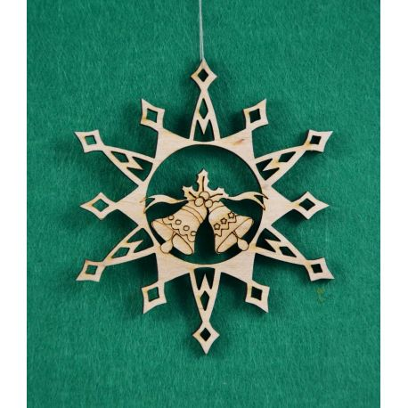 "Christmas wooden toy - ""Snowflake with bells"". Made of 3 mm fan."