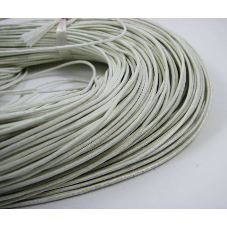Natural leather cord, white, thickness app about 1 mm