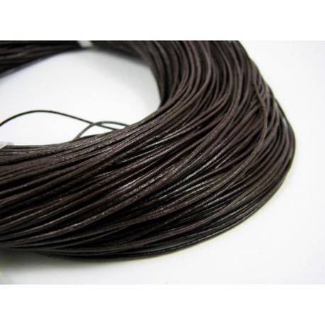 Natural leather cord, dark brown, thickness app about 1 mm