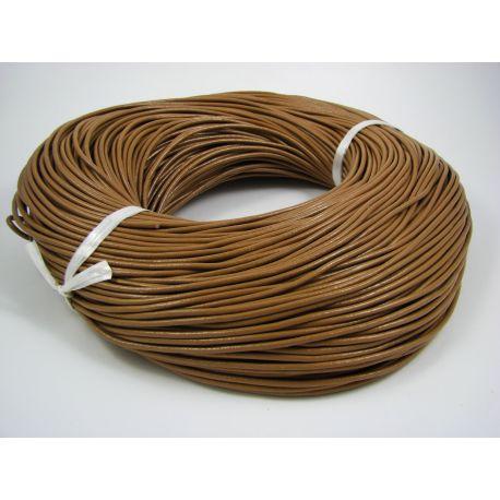 Natūralios odos virvelė, šviesios rudos spalvos, storis apie 2 mm