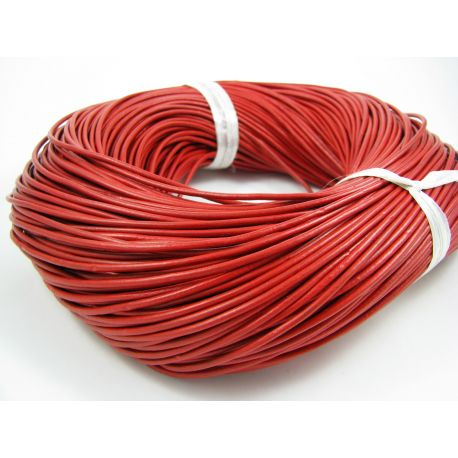Natural leather cord, bright red, thickness app on 2 mm