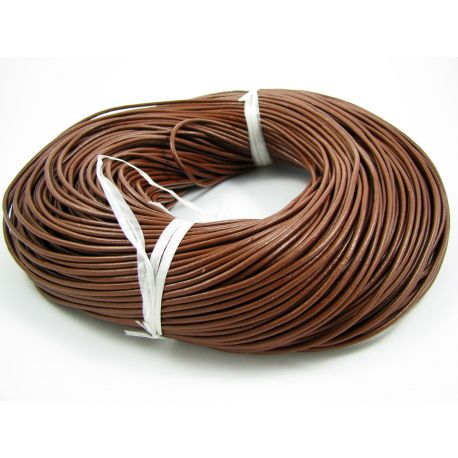 Natural leather cord, brown, thickness app about 2 mm