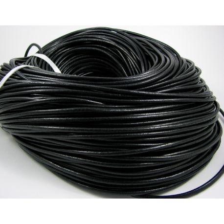 Natural leather cord, black, thickness app about 3 mm
