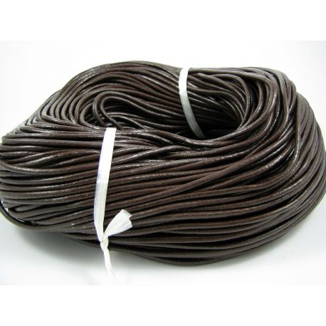 Natural leather cord, dark brown, thickness app on 3 mm
