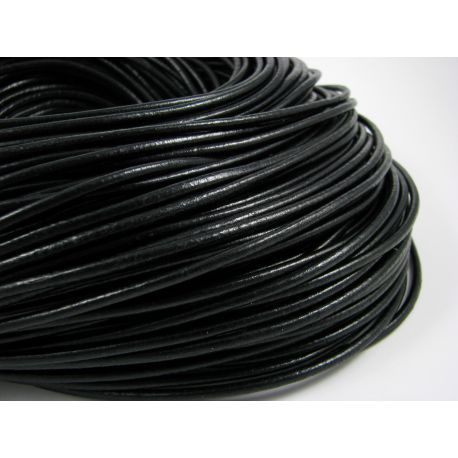 Natural leather cord, black, thickness app about 2 mm